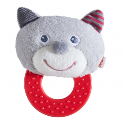 Cat-shaped rattle teether