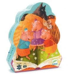 Three pigs silhouette puzzle