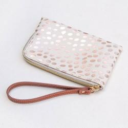 Metallyc wristlet purs