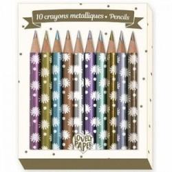 10 mini lápices de colores, metálicos